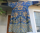 Embroidered Blue silk ground dragon robe
