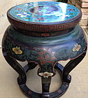 Chinese Koi Closonne inset top lacquer stool table