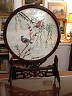 Chinese silk embroidered table screen with stand
