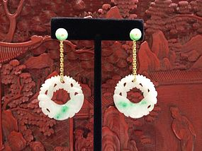 Apple greenJadeite carved disc with gold chain earrings