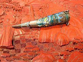 Chinses Antique silver enameled nail guard