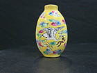 Famille rose enameled porcelain snuff bottle crane