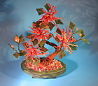 Pink coral and green hard stone Bonsai