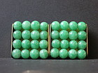 Art deco jade-like beaded brass belt buckle