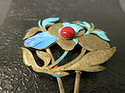 Antique Kingfisher hair ornament