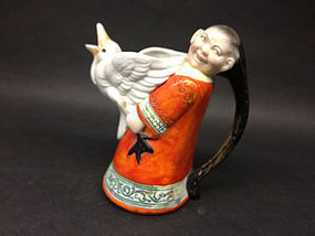 German Porcelain of a Chinese Madrain creamer teapot