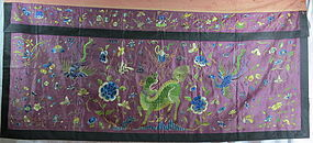 Antique Chinese silk embroidery panel with Kylin