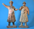 A pair of Ming style polychrome male figures