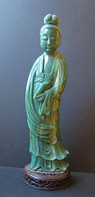 Large hardstone jade lady with carved stand
