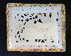 Carved Chinese white jade plaque  set in 18 K gold pin