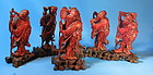Antique carved boxwood 6 of 8 immortals
