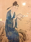 Chinese painting  ink on silk of a scholar