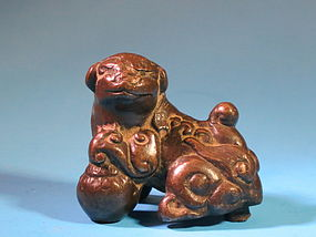 18th Century Chinese bronze Foo dog with sphere
