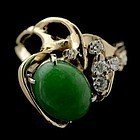 Jadeite, diamond yellow gold ring