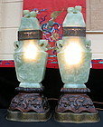 A pair of carved jade  covered vase lamp