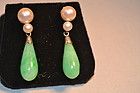 Chinese apple green jade and pearl earrings