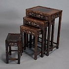 Chinese Nest Of Four Tables With Grapevine Carvings