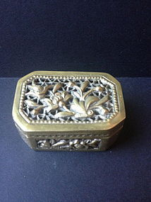 Chinese antique carved copper white brass box