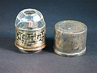 Antique Chinese brass traveling opium lamp