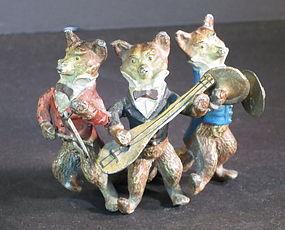 Austrian painted bronze three fox musicans