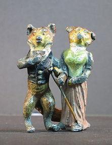 Austrian painted bronze fox couple