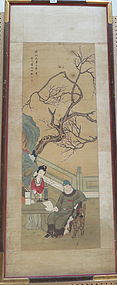 Antique Chinese painting ink and color on silk