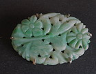 Antique Chinese carved apple green jadeite brooch Pin