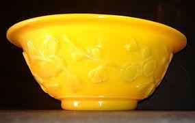 Imperial yellow 'Lotus Flower' Peking glass bowl