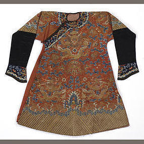 A red silk ground embroidered dragon robe