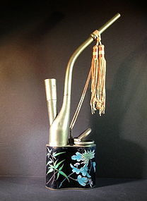 cloisonne enamel water pipe with silk tassile