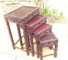 Antique Chinese dragon design set of 4 nesting tables