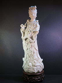 Dehua porcelain firgur of Guanyin with carved base