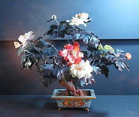 Chinese hardstone jewel tree cloisonne jadiniere