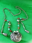 Antique Chinese silver necklace coral and turquoise