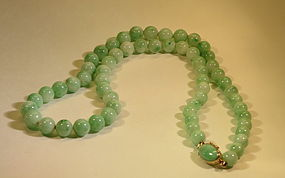 Chinese jadeite bead necklace with 14k clasp