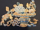 Chinese embroidered silk cut out fragment