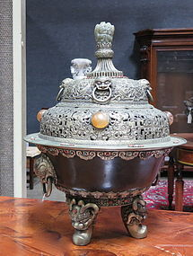Tibetan jade coral turquoise  mounted covered censer