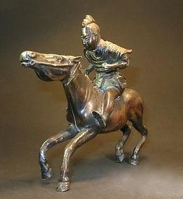 Bronze statue of a Samarai warrior on horse