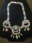Chinese tourmaline jadeite rube silver necklace