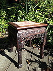 Antique Chinese rosewood stand with marble top
