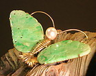 Vintage Chinese jadeite butterfly gold brooch pin