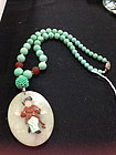 Chinese jade pendant turquoise necklace