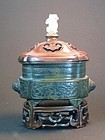 Incense burner with  rosewood nephrite finial
