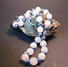 Vintage Chinese cloisonne rose quartz silver necklace