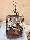Chinese antique bamboo and carved bone bird cage