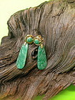 Carved Chinses apple green jadeite earring