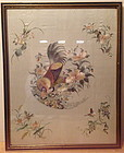 Chinese export embroidered silk panel