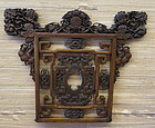 Carved Chinese rosewood panel Fu dog motif