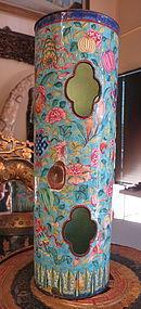 Enamel eight Buddist treasures open cylinder vase