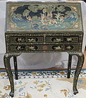 Chinese black lacquer painted drop front desk